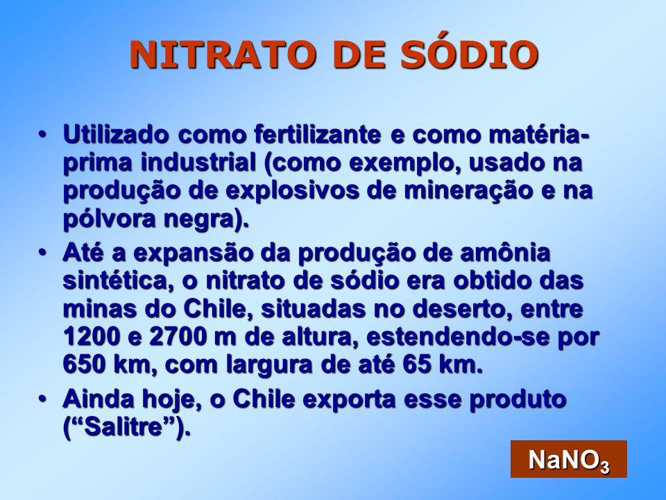 NITRATO DE SÓDIO Utilizado como fertilizante e como matéria- prima industrial (como exemplo, usado na produção de explosivos de mineração e na pólvora