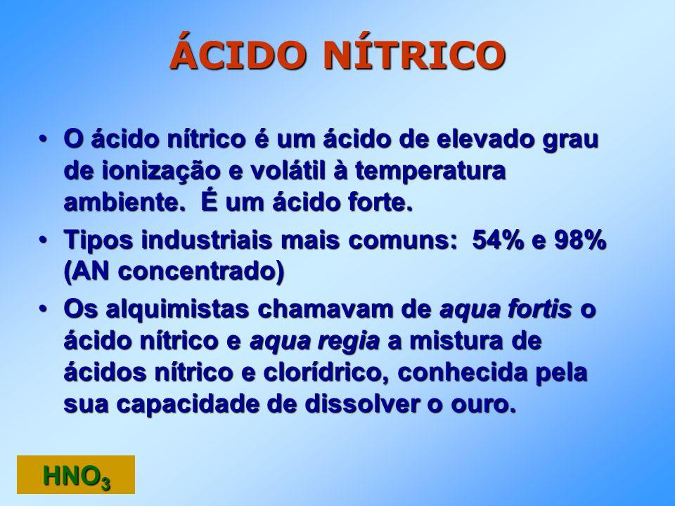 ÁCIDO NÍTRICO O ácido nítrico é um ácido de elevado grau de ionização e volátil à temperatura ambiente. É um ácido forte.O ácido nítrico é um ácido de