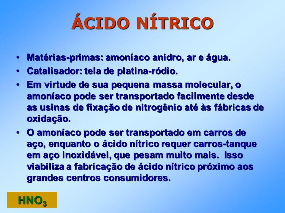 ÁCIDO NÍTRICO Matérias-primas: amoníaco anidro, ar e água.Matérias-primas: amoníaco anidro, ar e água. Catalisador: tela de platina-ródio.Catalisador: