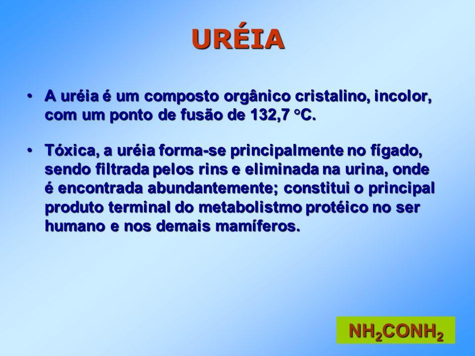URÉIA A uréia é um composto orgânico cristalino, incolor, com um ponto de fusão de 132,7 °C.A uréia é um composto orgânico cristalino, incolor, com um