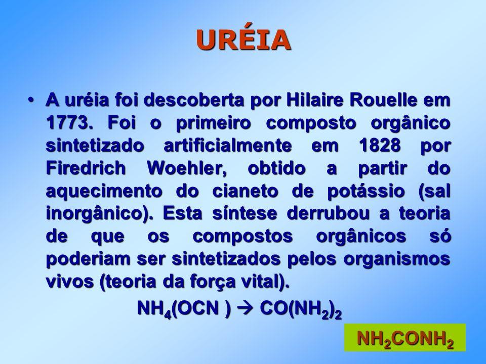 URÉIA A uréia foi descoberta por Hilaire Rouelle em 1773. Foi o primeiro composto orgânico sintetizado artificialmente em 1828 por Firedrich Woehler,