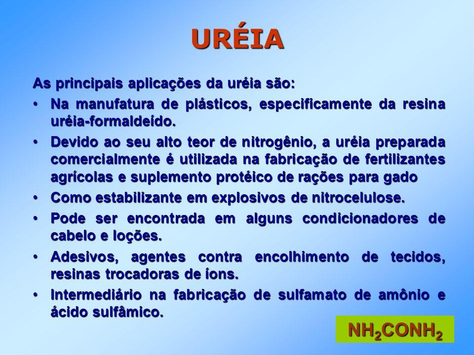 URÉIA As principais aplicações da uréia são: Na manufatura de plásticos, especificamente da resina uréia-formaldeído.Na manufatura de plásticos, espec
