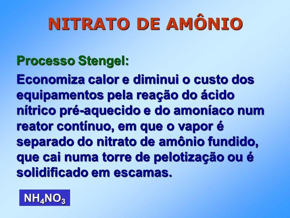 NITRATO DE AMÔNIO Processo Stengel: O nitrato de amônio é obtido com umidade em torno de 0,2%, mas é higroscópico.