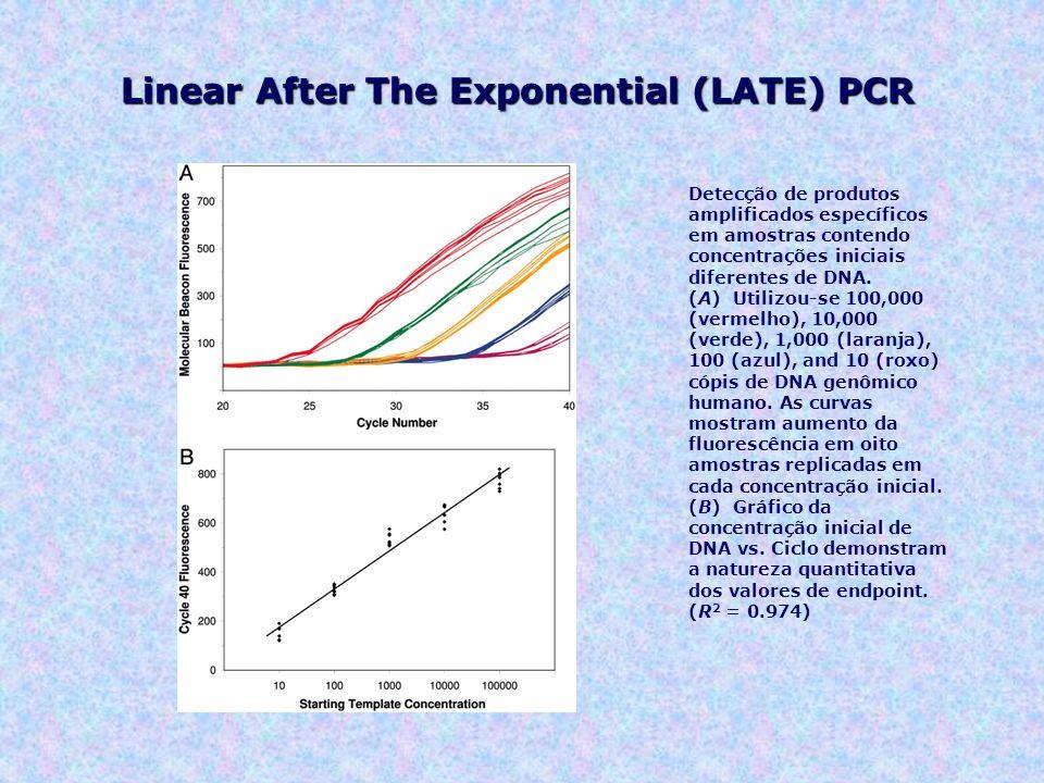 Detecção de produtos amplificados específicos em amostras contendo concentrações iniciais diferentes de DNA. (A) Utilizou-se 100,000 (vermelho), 10,00