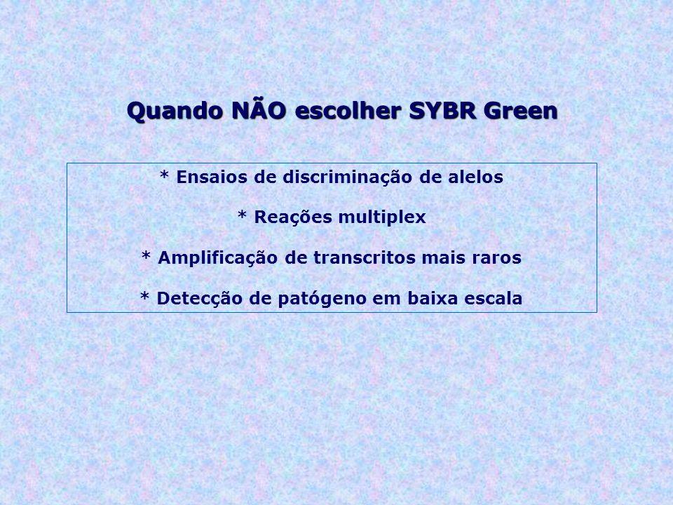 Quando NÃO escolher SYBR Green * Ensaios de discriminação de alelos * Reações multiplex * Amplificação de transcritos mais raros * Detecção de patógeno em baixa escala