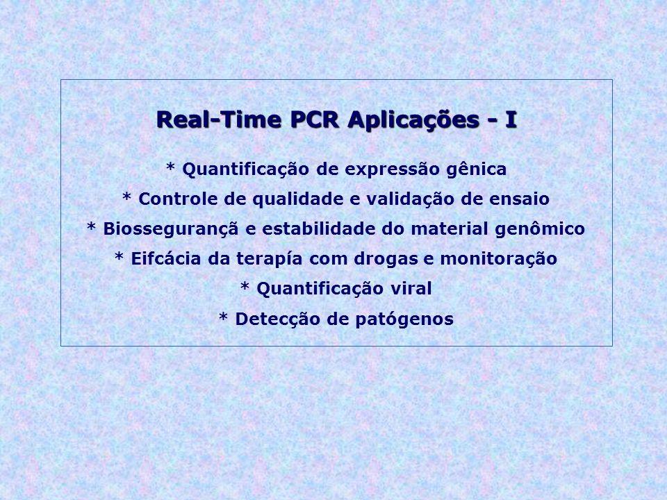 Real-Time PCR Aplicações - I * Quantificação de expressão gênica * Controle de qualidade e validação de ensaio * Biossegurançã e estabilidade do mater