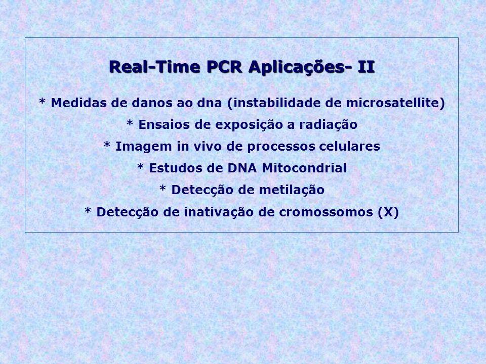 Real-Time PCR Aplicações- II * Medidas de danos ao dna (instabilidade de microsatellite) * Ensaios de exposição a radiação * Imagem in vivo de processos celulares * Estudos de DNA Mitocondrial * Detecção de metilação * Detecção de inativação de cromossomos (X)