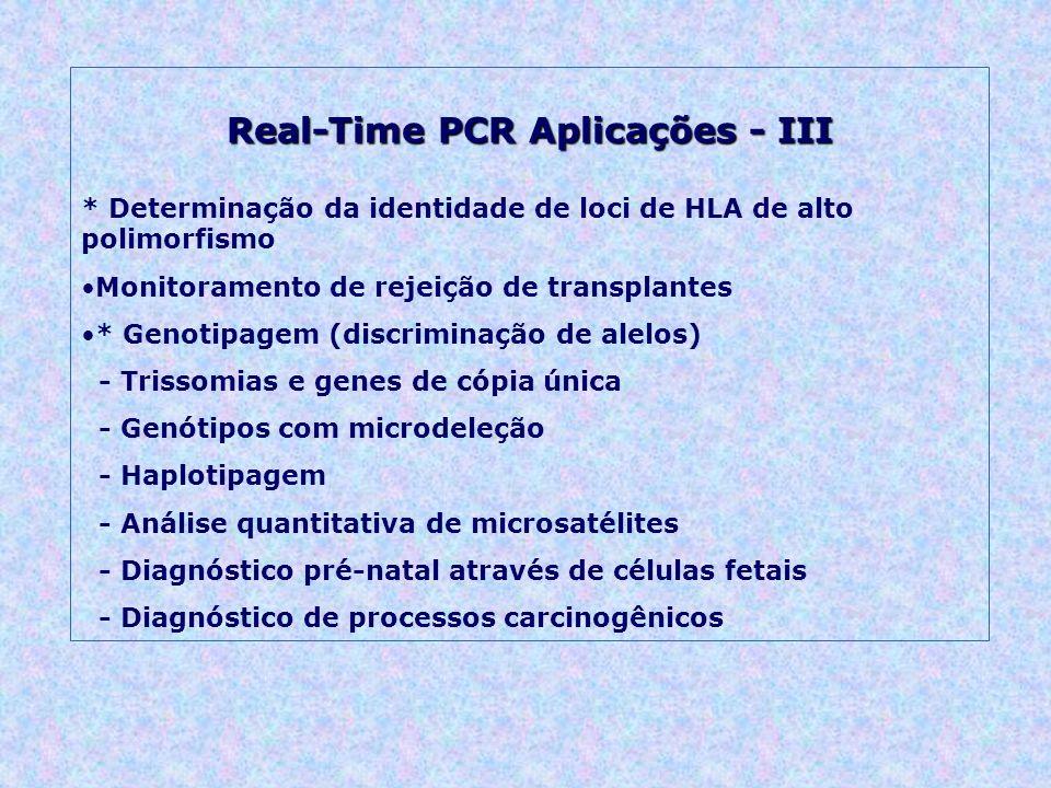 Real-Time PCR Aplicações - III * Determinação da identidade de loci de HLA de alto polimorfismo Monitoramento de rejeição de transplantes * Genotipagem (discriminação de alelos) - Trissomias e genes de cópia única - Genótipos com microdeleção - Haplotipagem - Análise quantitativa de microsatélites - Diagnóstico pré-natal através de células fetais - Diagnóstico de processos carcinogênicos