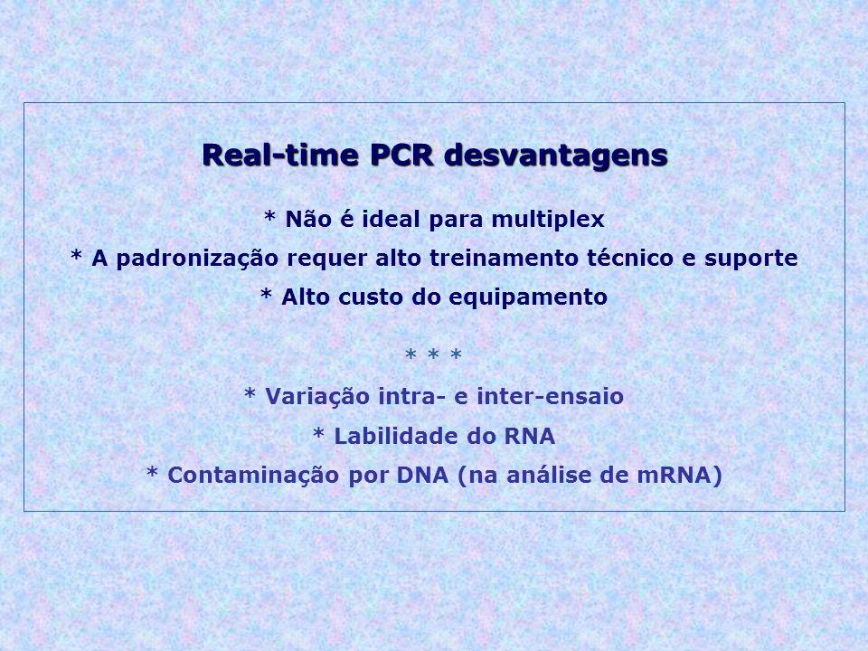Real-time PCR desvantagens * Não é ideal para multiplex * A padronização requer alto treinamento técnico e suporte * Alto custo do equipamento * * * * Variação intra- e inter-ensaio * Labilidade do RNA * Contaminação por DNA (na análise de mRNA)