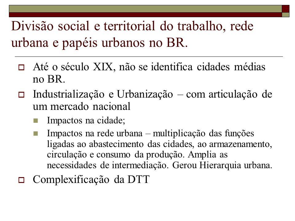 Divisão social e territorial do trabalho, rede urbana e papéis urbanos no BR. Até o século XIX, não se identifica cidades médias no BR. Industrializaç