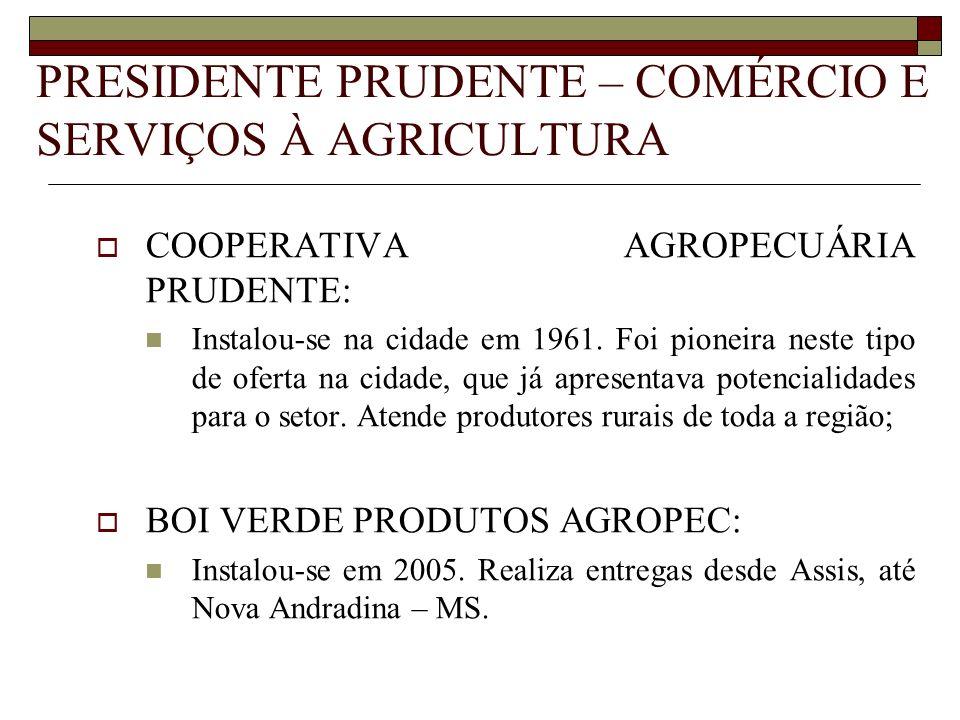 PRESIDENTE PRUDENTE – COMÉRCIO E SERVIÇOS À AGRICULTURA COOPERATIVA AGROPECUÁRIA PRUDENTE: Instalou-se na cidade em 1961. Foi pioneira neste tipo de o