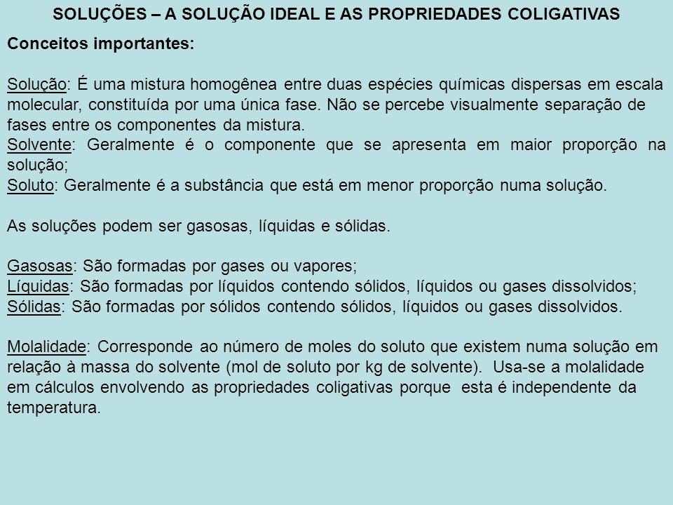 SOLUÇÕES – A SOLUÇÃO IDEAL E AS PROPRIEDADES COLIGATIVAS Conceitos importantes: Solução ideal: Seguindo o exemplo dos gases ideais, as soluções também apresentam comportamento semelhante.