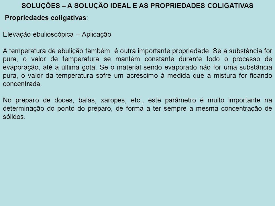 SOLUÇÕES – A SOLUÇÃO IDEAL E AS PROPRIEDADES COLIGATIVAS Propriedades coligativas: Equação de vant Hoff _ c concentração molar do soluto em mol/m 3