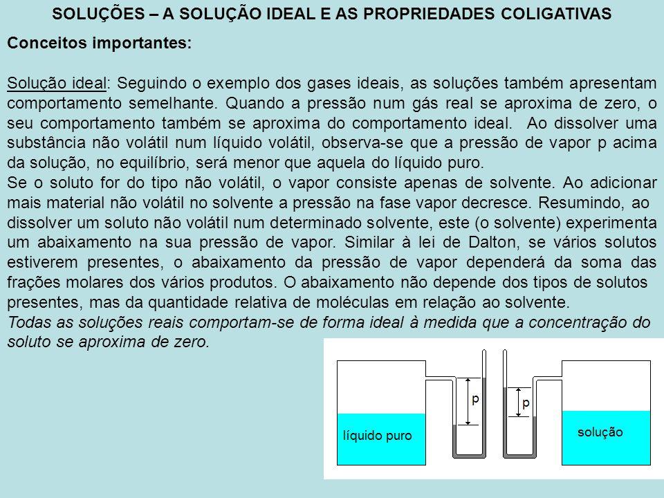 SOLUÇÕES – A SOLUÇÃO IDEAL E AS PROPRIEDADES COLIGATIVAS Conceitos importantes: Solução ideal: Seguindo o exemplo dos gases ideais, as soluções também