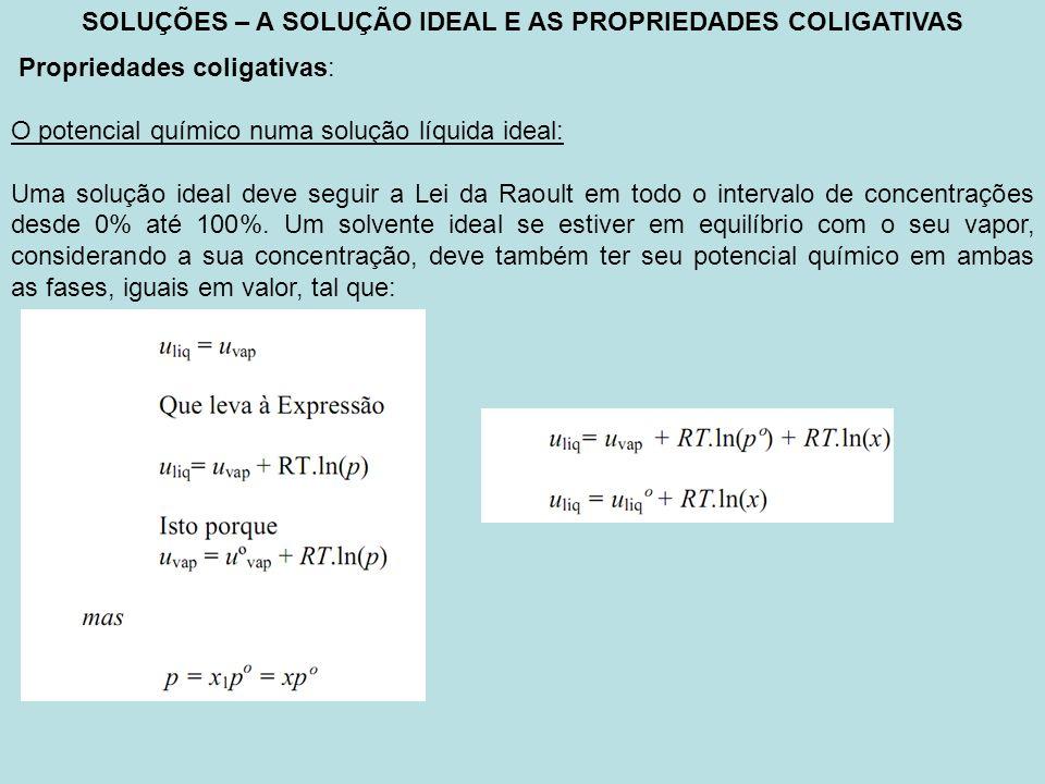 SOLUÇÕES – A SOLUÇÃO IDEAL E AS PROPRIEDADES COLIGATIVAS Propriedades coligativas: O potencial químico numa solução líquida ideal: Uma solução ideal d