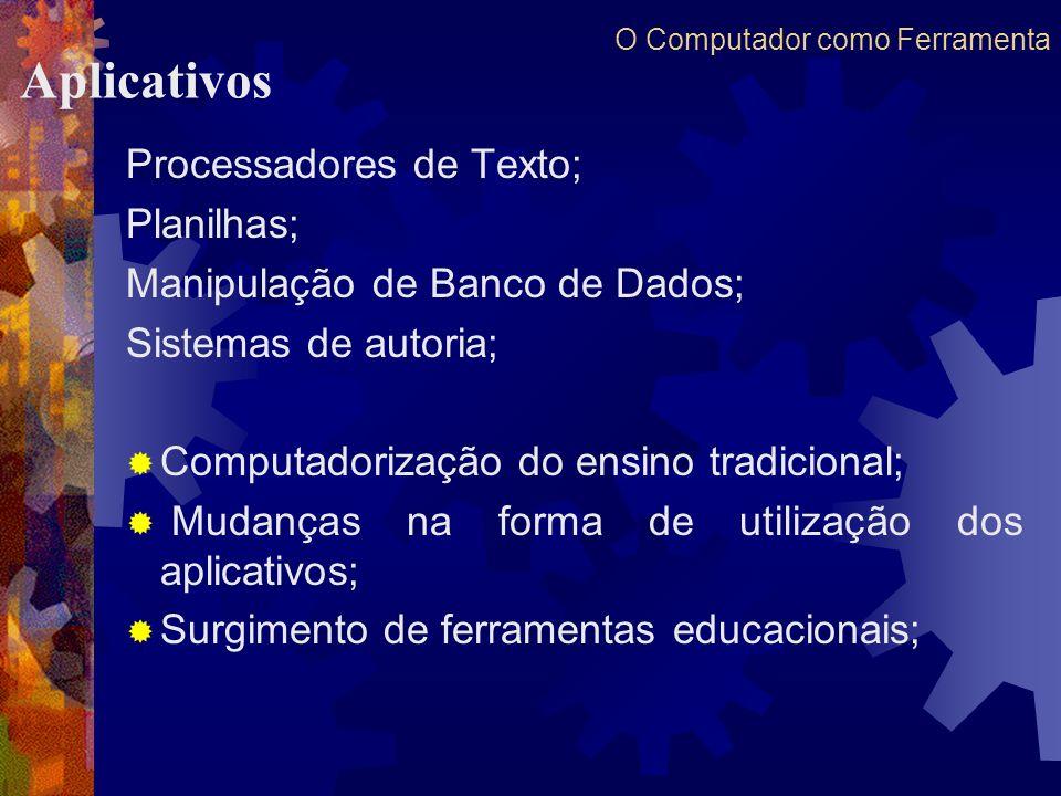 O Computador como Ferramenta Processadores de Texto; Planilhas; Manipulação de Banco de Dados; Sistemas de autoria; Computadorização do ensino tradici