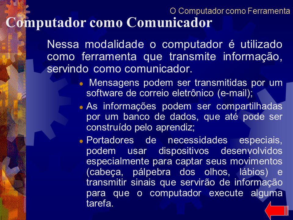 O Computador como Ferramenta Nessa modalidade o computador é utilizado como ferramenta que transmite informação, servindo como comunicador. Mensagens