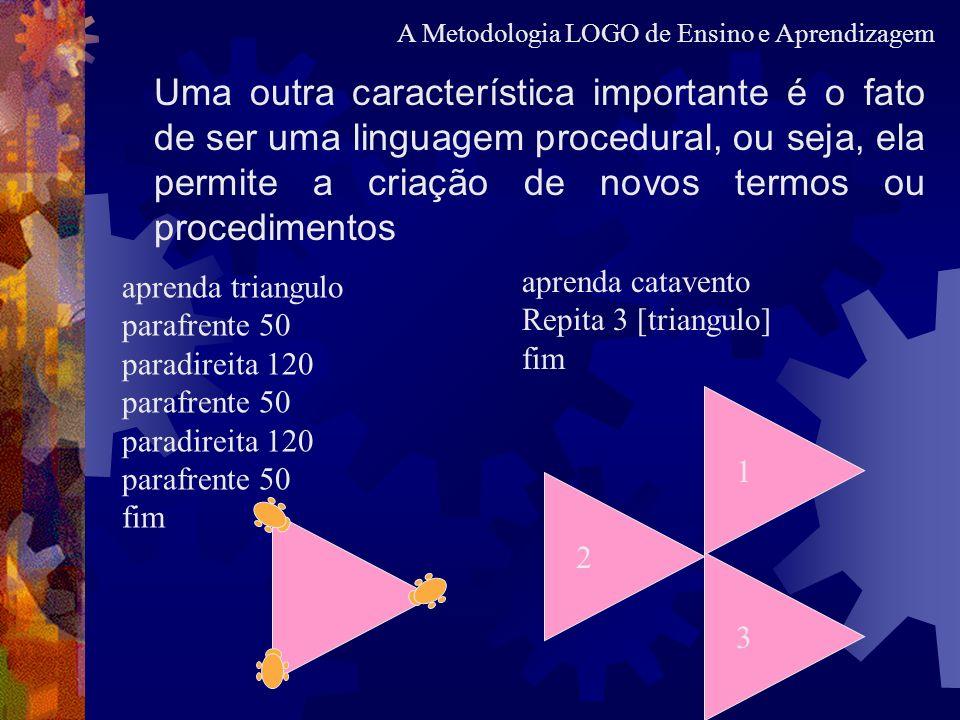 Uma outra característica importante é o fato de ser uma linguagem procedural, ou seja, ela permite a criação de novos termos ou procedimentos aprenda