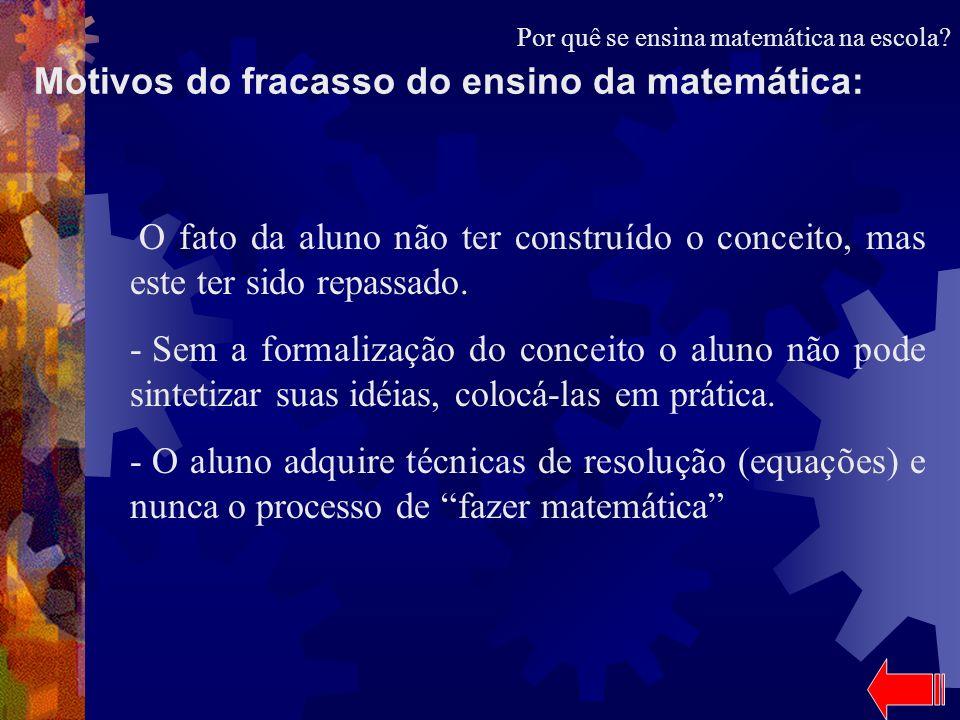 Motivos do fracasso do ensino da matemática: O fato da aluno não ter construído o conceito, mas este ter sido repassado. - Sem a formalização do conce