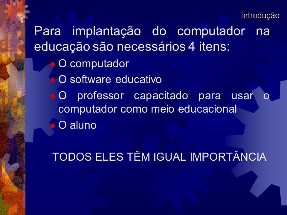 Para implantação do computador na educação são necessários 4 itens: O computador O software educativo O professor capacitado para usar o computador co