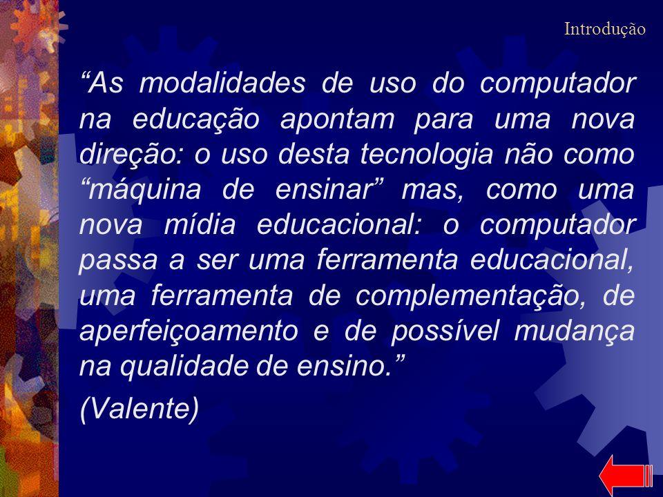 As modalidades de uso do computador na educação apontam para uma nova direção: o uso desta tecnologia não como máquina de ensinar mas, como uma nova m
