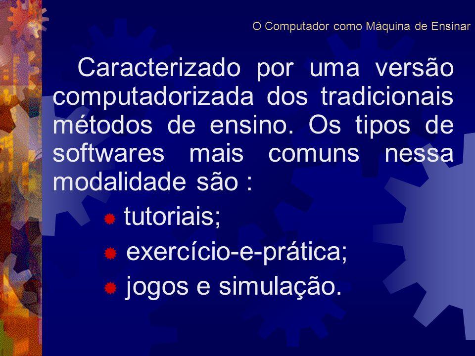 Caracterizado por uma versão computadorizada dos tradicionais métodos de ensino. Os tipos de softwares mais comuns nessa modalidade são : tutoriais; e
