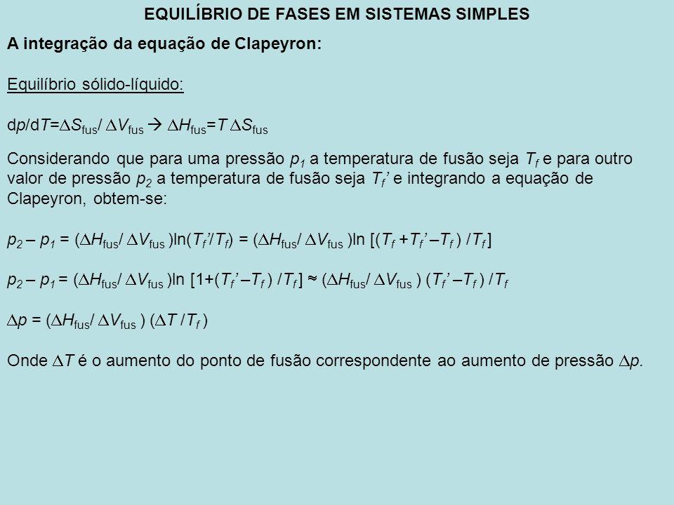 EQUILÍBRIO DE FASES EM SISTEMAS SIMPLES A integração da equação de Clapeyron: Equilíbrio sólido-líquido: dp/dT= S fus / V fus H fus =T S fus Considera