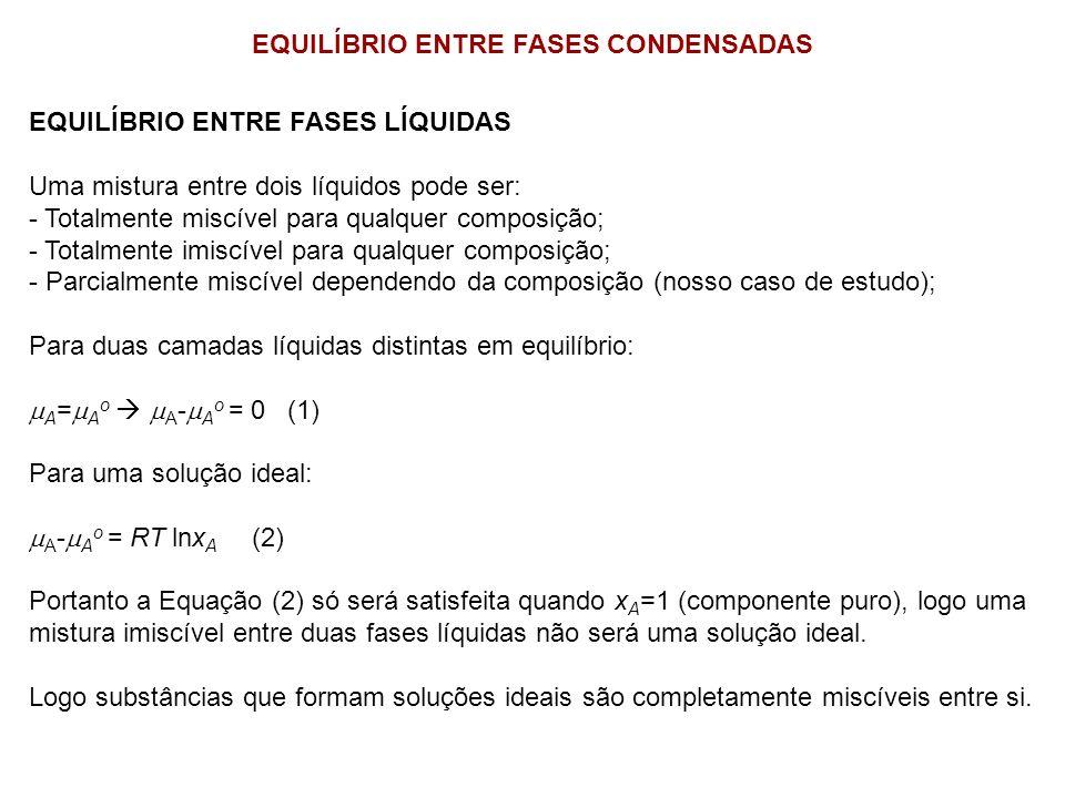 EQUILÍBRIO ENTRE FASES CONDENSADAS EQUILÍBRIO ENTRE FASES LÍQUIDAS Uma mistura entre dois líquidos pode ser: - Totalmente miscível para qualquer compo