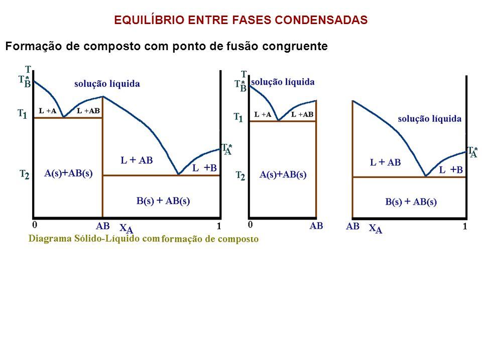 EQUILÍBRIO ENTRE FASES CONDENSADAS Formação de composto com ponto de fusão congruente