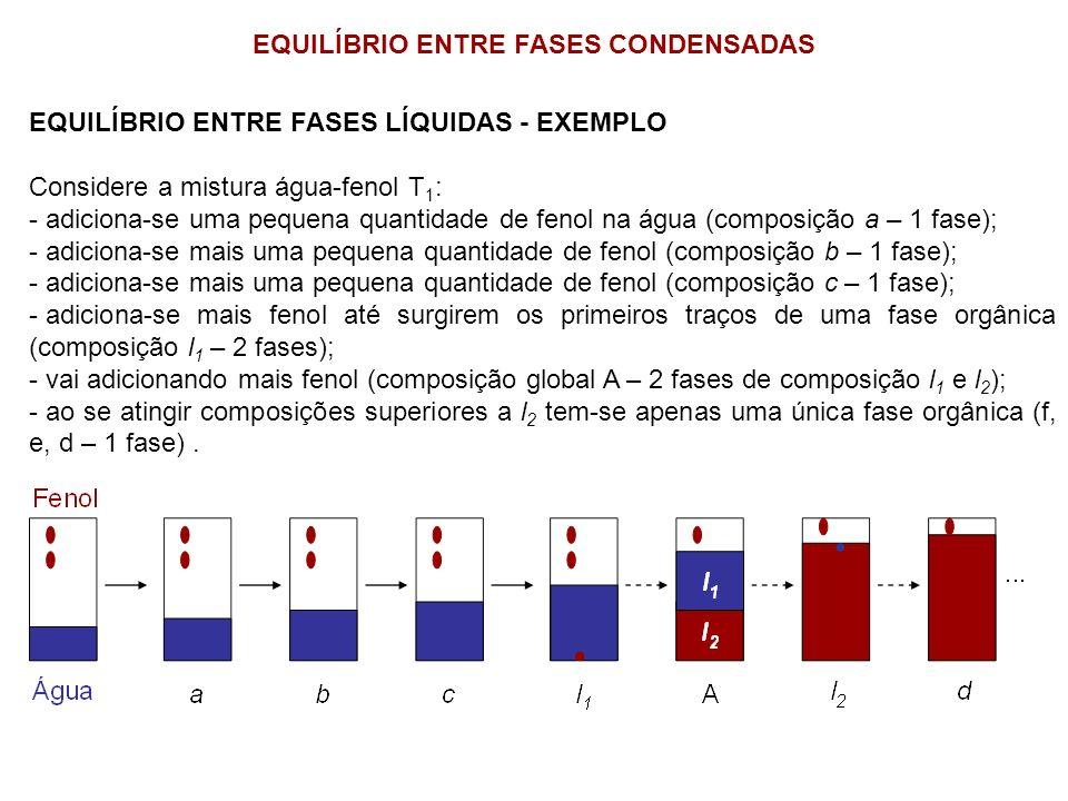 EQUILÍBRIO ENTRE FASES CONDENSADAS EQUILÍBRIO ENTRE FASES LÍQUIDAS - EXEMPLO Considere a mistura água-fenol T 1 : - adiciona-se uma pequena quantidade