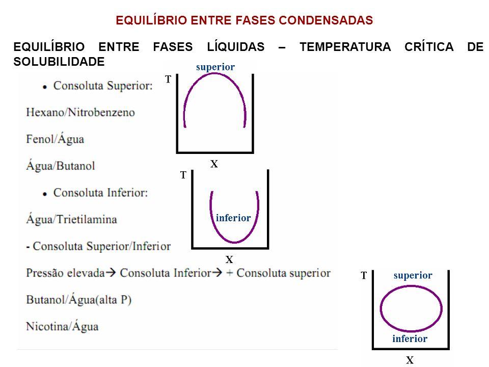 EQUILÍBRIO ENTRE FASES CONDENSADAS EQUILÍBRIO ENTRE FASES LÍQUIDAS – TEMPERATURA CRÍTICA DE SOLUBILIDADE