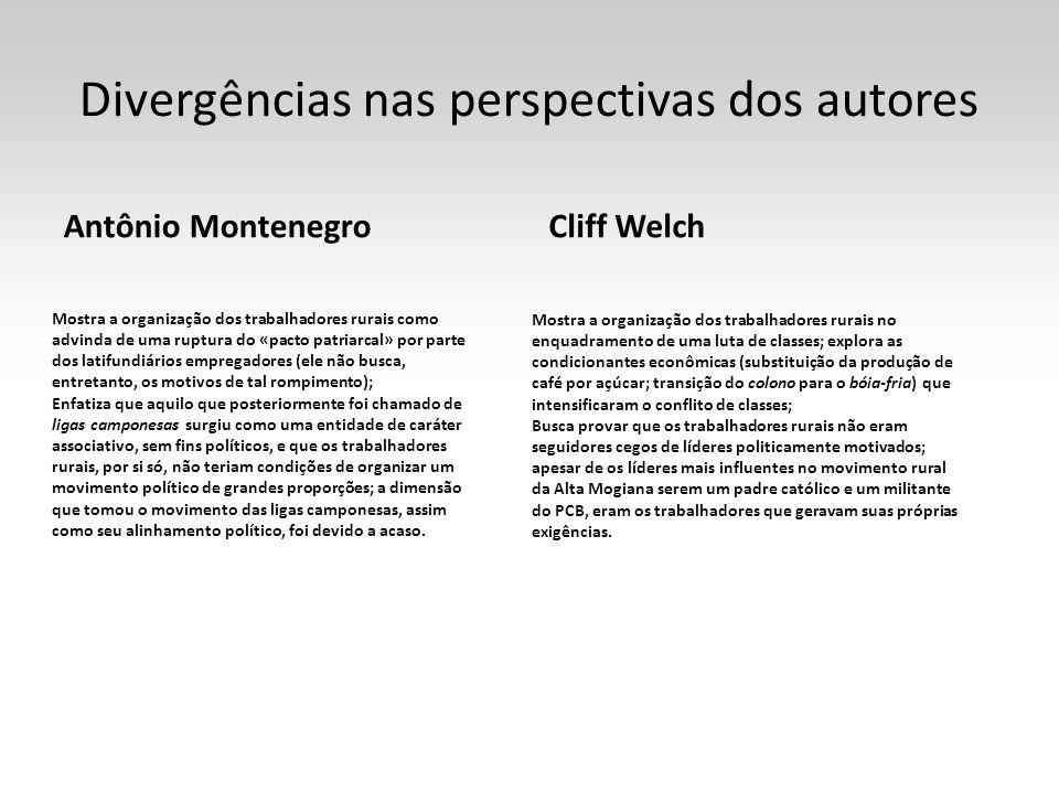 Divergências nas perspectivas dos autores Antônio Montenegro Mostra a organização dos trabalhadores rurais como advinda de uma ruptura do «pacto patri