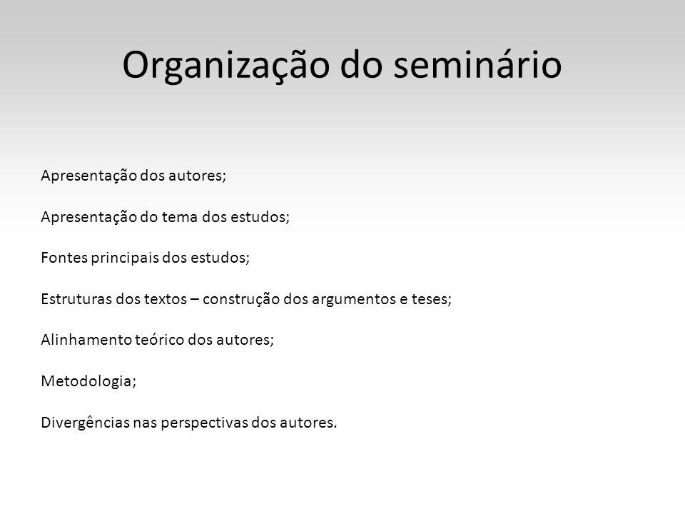 Organização do seminário Apresentação dos autores; Apresentação do tema dos estudos; Fontes principais dos estudos; Estruturas dos textos – construção