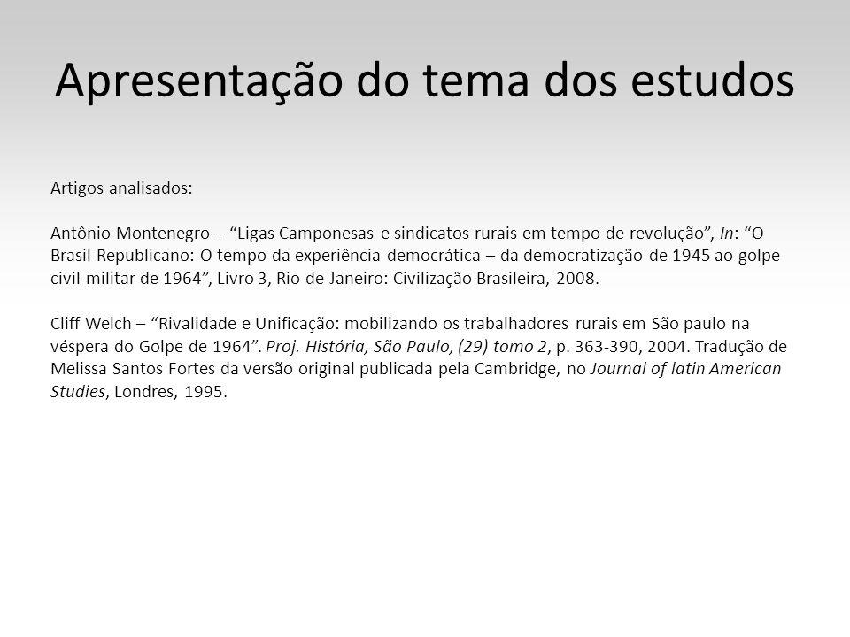 Apresentação do tema dos estudos Artigos analisados: Antônio Montenegro – Ligas Camponesas e sindicatos rurais em tempo de revolução, In: O Brasil Rep
