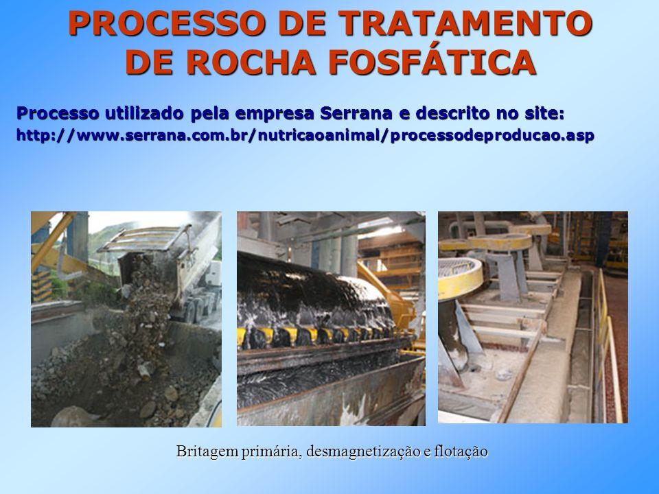 PROCESSO DE TRATAMENTO DE ROCHA FOSFÁTICA Processo utilizado pela empresa Serrana e descrito no site: http://www.serrana.com.br/nutricaoanimal/processodeproducao.asp Britagem primária, desmagnetização e flotação