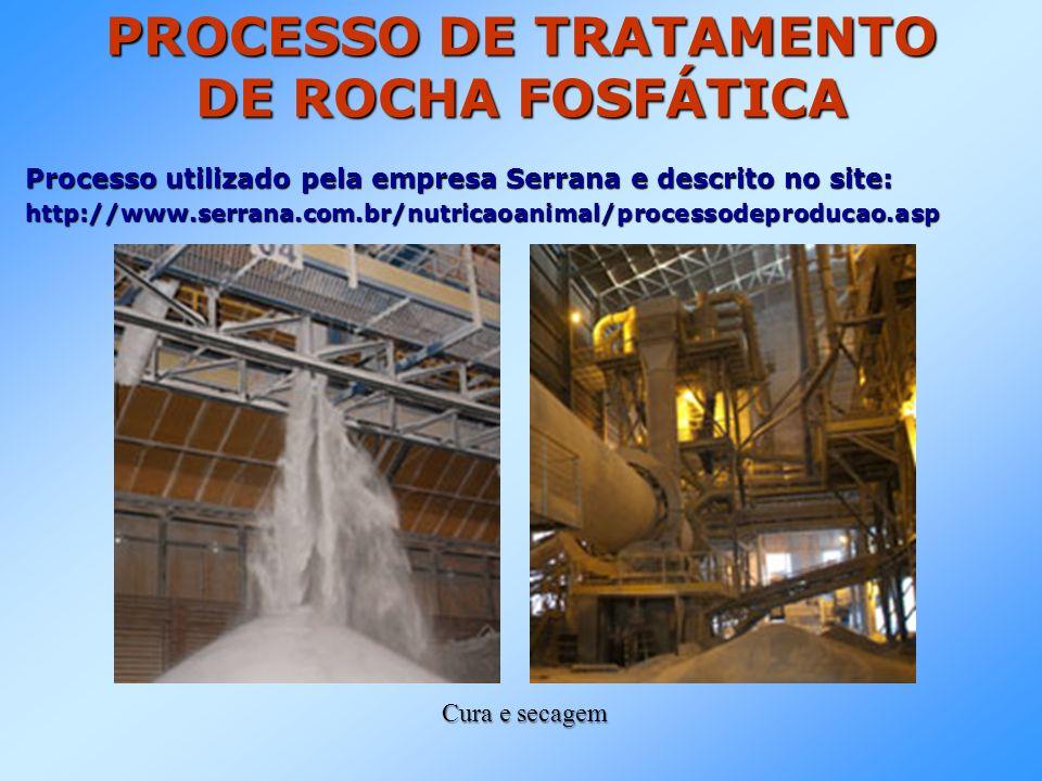 PROCESSO DE TRATAMENTO DE ROCHA FOSFÁTICA Processo utilizado pela empresa Serrana e descrito no site: http://www.serrana.com.br/nutricaoanimal/processodeproducao.asp Cura e secagem