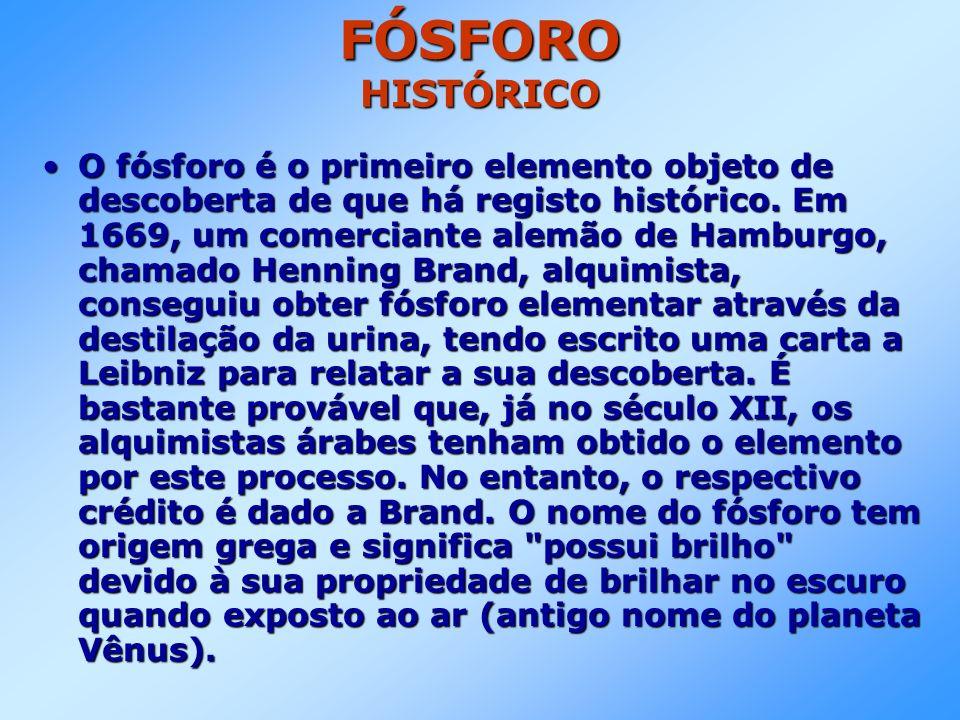FÓSFORO HISTÓRICO O fósforo é o primeiro elemento objeto de descoberta de que há registo histórico.