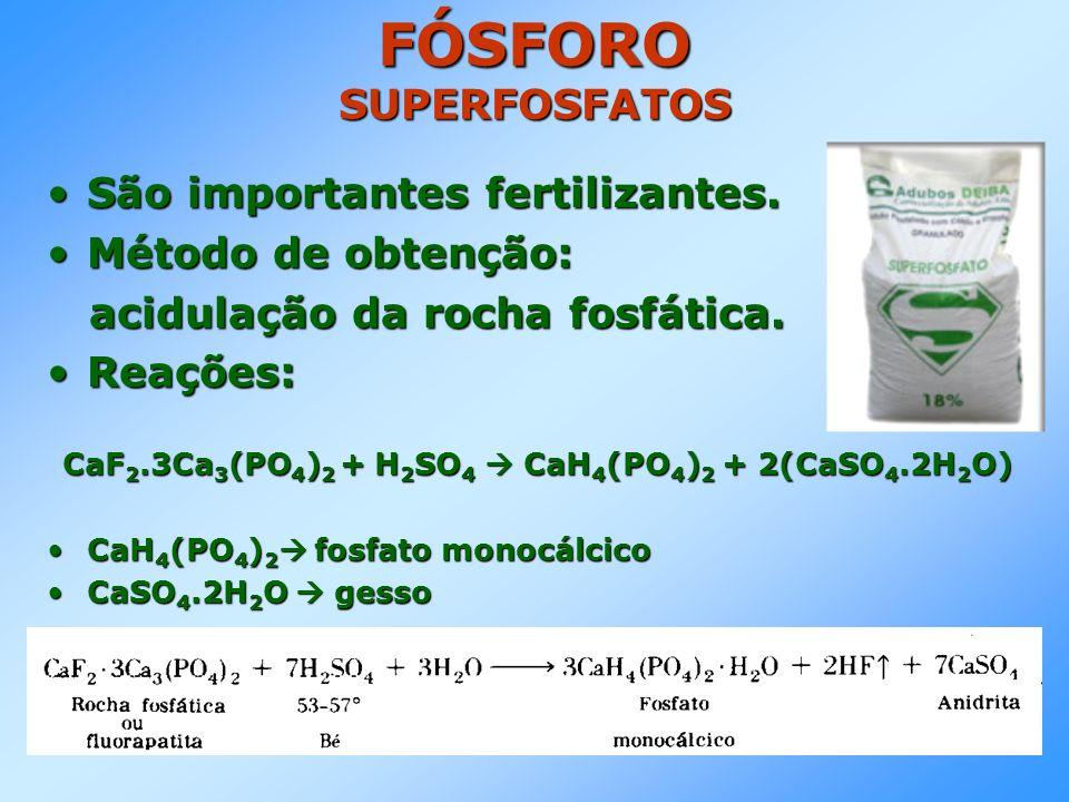 FÓSFORO SUPERFOSFATOS São importantes fertilizantes.São importantes fertilizantes.