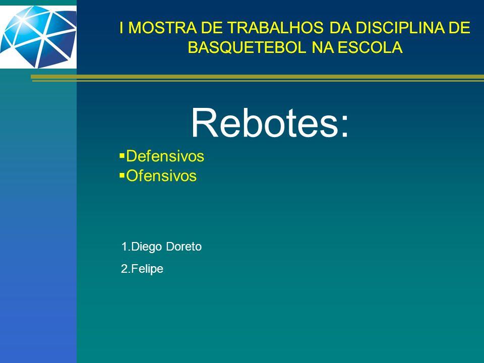 I MOSTRA DE TRABALHOS DA DISCIPLINA DE BASQUETEBOL NA ESCOLA Rebotes: Defensivos Ofensivos 1.Diego Doreto 2.Felipe