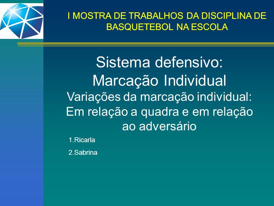 I MOSTRA DE TRABALHOS DA DISCIPLINA DE BASQUETEBOL NA ESCOLA Sistema defensivo: Marcação Individual Variações da marcação individual: Em relação a qua