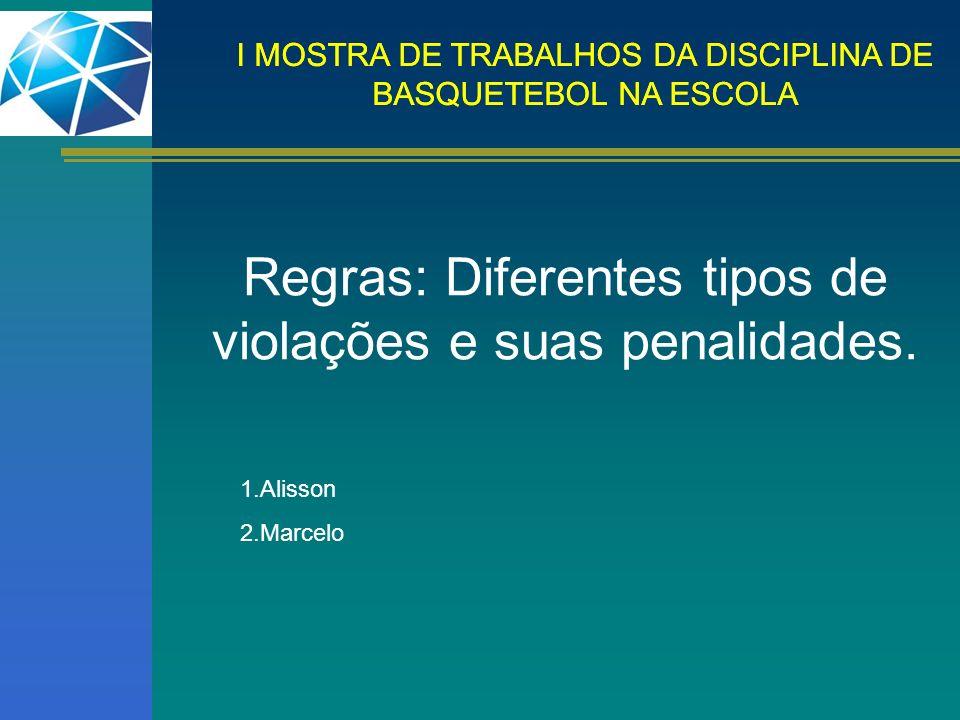 I MOSTRA DE TRABALHOS DA DISCIPLINA DE BASQUETEBOL NA ESCOLA Regras: Diferentes tipos de violações e suas penalidades. 1.Alisson 2.Marcelo