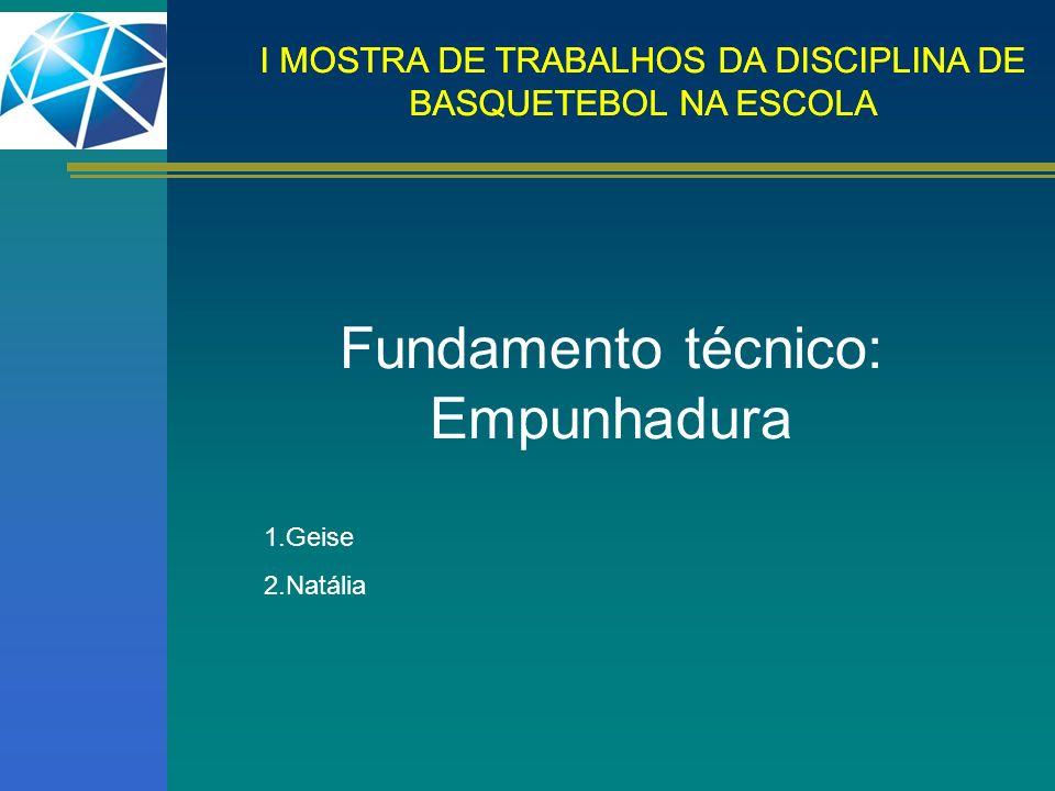 I MOSTRA DE TRABALHOS DA DISCIPLINA DE BASQUETEBOL NA ESCOLA Fundamento técnico: Empunhadura 1.Geise 2.Natália