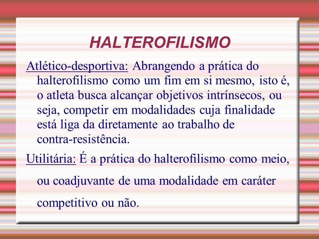 HALTEROFILISMO Atlético desportiva: Abrangendo a prática do halterofilismo como um fim em si mesmo, isto é, o atleta busca alcançar objetivos intrínse