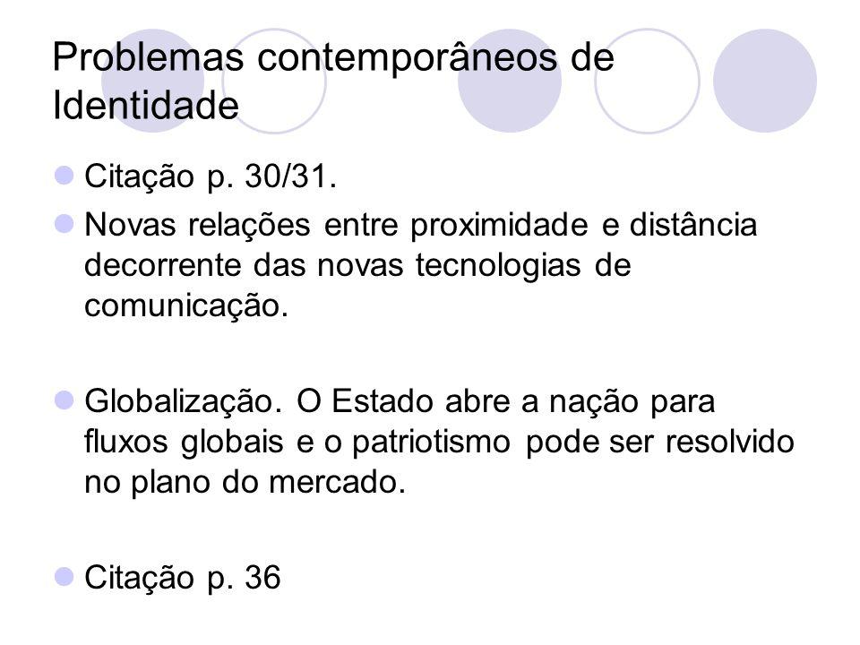 Problemas contemporâneos de Identidade Citação p. 30/31. Novas relações entre proximidade e distância decorrente das novas tecnologias de comunicação.
