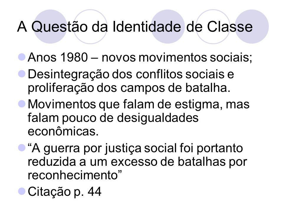 A Questão da Identidade de Classe Anos 1980 – novos movimentos sociais; Desintegração dos conflitos sociais e proliferação dos campos de batalha. Movi