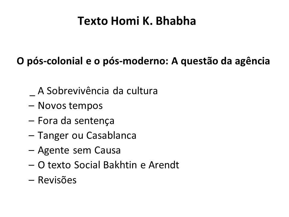 Texto Homi K. Bhabha O pós-colonial e o pós-moderno: A questão da agência _ A Sobrevivência da cultura –Novos tempos –Fora da sentença –Tanger ou Casa