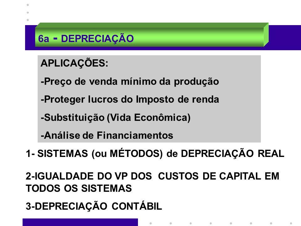 6a - DEPRECIAÇÃO APLICAÇÕES: -Preço de venda mínimo da produção -Proteger lucros do Imposto de renda -Substituição (Vida Econômica) -Análise de Financ