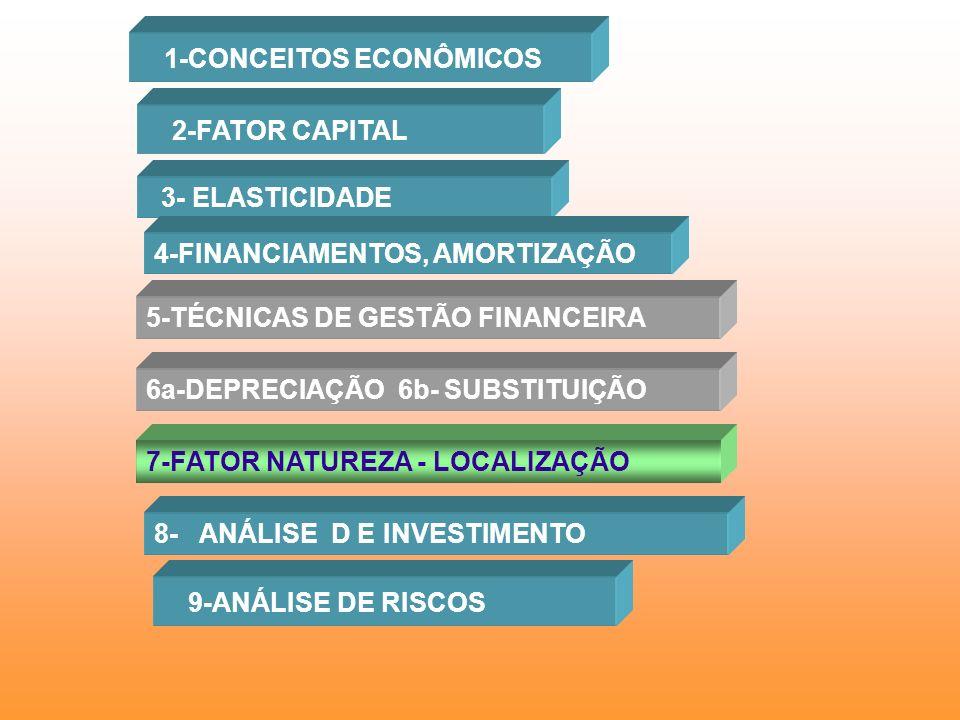 1-CONCEITOS ECONÔMICOS 2-FATOR CAPITAL 3- ELASTICIDADE 4-FINANCIAMENTOS, AMORTIZAÇÃO 5-TÉCNICAS DE GESTÃO FINANCEIRA 6a-DEPRECIAÇÃO 6b- SUBSTITUIÇÃO 7