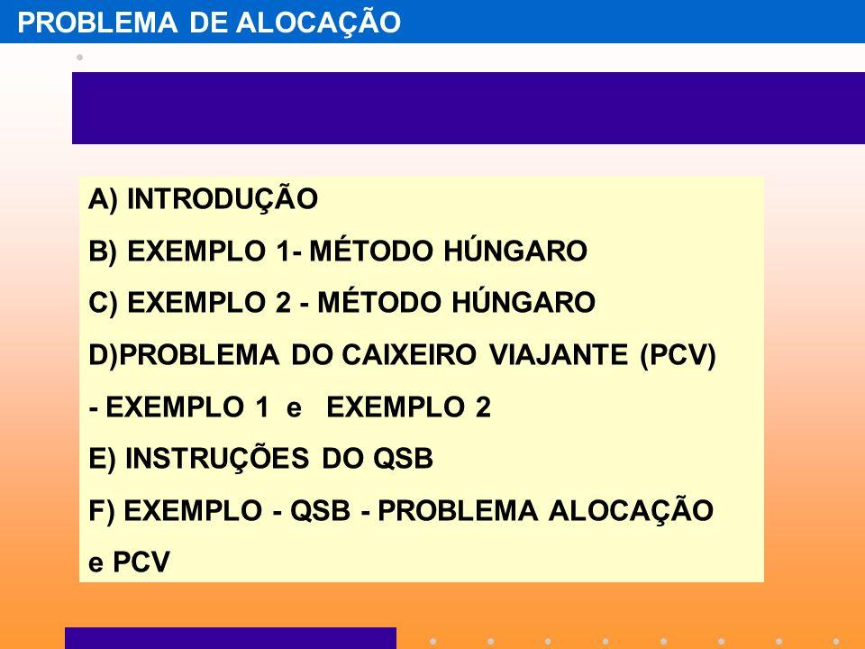 PROBLEMA DE ALOCAÇÃO A) INTRODUÇÃO B) EXEMPLO 1- MÉTODO HÚNGARO C) EXEMPLO 2 - MÉTODO HÚNGARO D)PROBLEMA DO CAIXEIRO VIAJANTE (PCV) - EXEMPLO 1 e EXEM