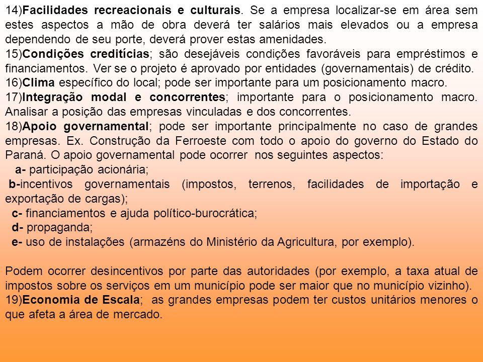 14)Facilidades recreacionais e culturais. Se a empresa localizar-se em área sem estes aspectos a mão de obra deverá ter salários mais elevados ou a em